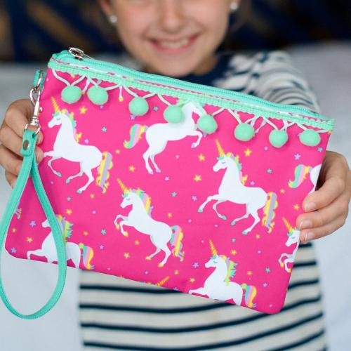Personalized Unicorn Wishes Wristlet Pouch  Apparel & Accessories > Handbags > Wristlets