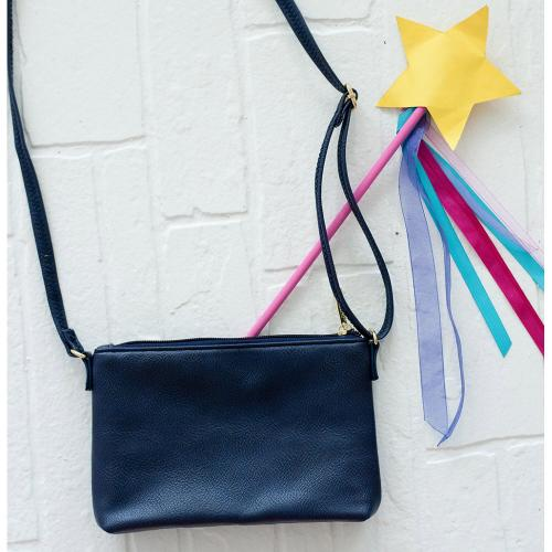 Personalized Girls Navy Vegan Leather Crossbody Purse  Apparel & Accessories > Handbags > Cross-Body Handbags