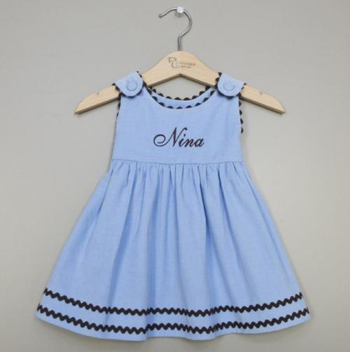 Monogrammed Corduroy Dress Light Blue with Brown Trim  Apparel & Accessories > Clothing > Baby & Toddler Clothing > Baby & Toddler Dresses