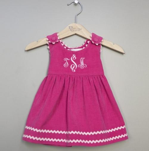 Monogrammed Corduroy Dress Hot Pink with Light Pink Trim  Apparel & Accessories > Clothing > Baby & Toddler Clothing > Baby & Toddler Dresses