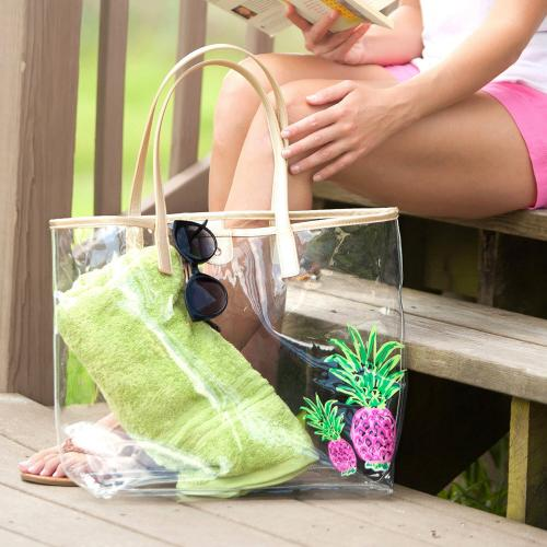 Clear Petite Pineapples Tote Clear Petite Pineapples Tote Apparel & Accessories > Handbags > Tote Handbags