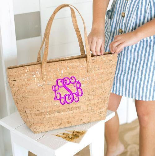 Monogrammed Cork Charlotte Tote  Apparel & Accessories > Handbags > Tote Handbags