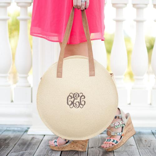 Monogrammed Round Natural Bungalow Tote  Apparel & Accessories > Handbags > Tote Handbags