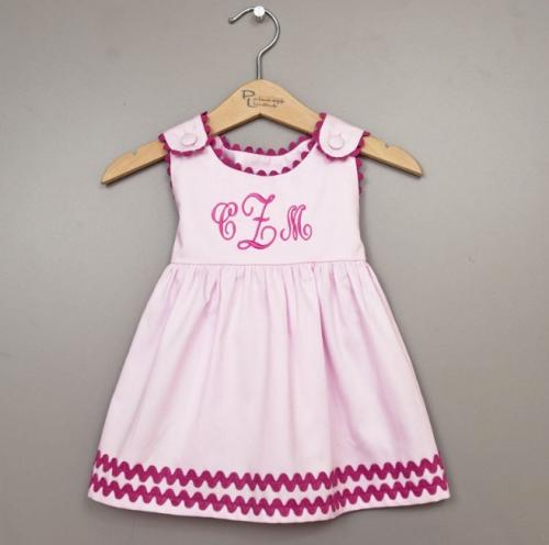 Monogrammed Dress Cotton Pink with Hot Pink Trim  Apparel & Accessories > Clothing > Baby & Toddler Clothing > Baby & Toddler Dresses