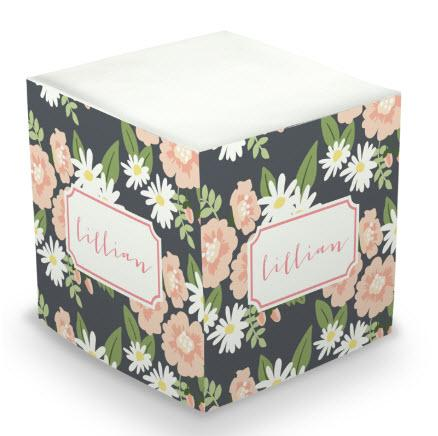 Personalized Lillian Floral Memo Cube  Office Supplies > General Supplies > Paper Products > Sticky Notes