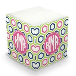 Personalized Maggie Lime & Navy Memo Cube  Office Supplies > General Supplies > Paper Products > Sticky Notes