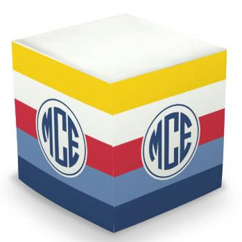 Personalized Bold Stripe Nautical Memo Cube  Office Supplies > General Supplies > Paper Products > Sticky Notes