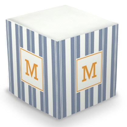 Personalized Vineyard Stripe Navy Memo Cube  Office Supplies > General Supplies > Paper Products > Sticky Notes