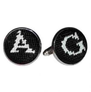 Smathers and Branson Black Needlepoint Letter Cufflinks smathers and branson letter needlepoint cufflinks black Apparel & Accessories > Jewelry > Cufflinks