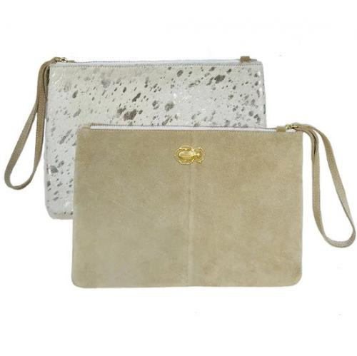 Lisi Lerch Elise Clutch Taupe and Moscow  Apparel & Accessories > Handbags > Clutches & Special Occasion Bags