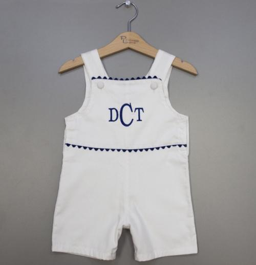 Monogrammed Boys Hamptom White and Blue Romper  Apparel & Accessories > Clothing > Baby & Toddler Clothing