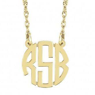 Monogrammed Mini Block Necklace  Apparel & Accessories > Jewelry > Necklaces