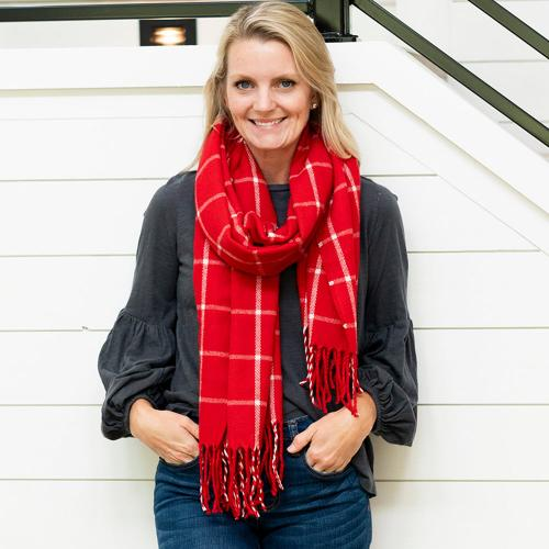 Monogrammed Red Windowpane Plaid Scarf  Apparel & Accessories > Clothing Accessories > Scarves & Shawls