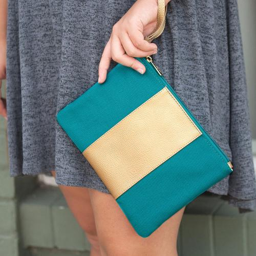 Monogrammed Teal Cabana Wristlet  Apparel & Accessories > Handbags > Wristlets