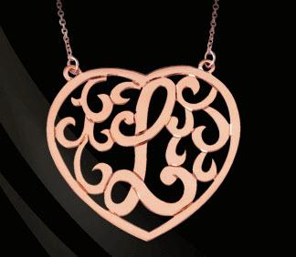 Monogrammed Heart Pendant    Apparel & Accessories > Jewelry > Necklaces