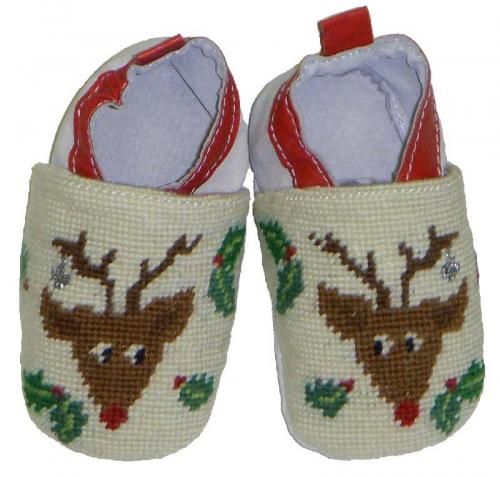 By Paige Baby Needlepoint Rudolph Booties  Apparel & Accessories > Shoes > Baby & Toddler Shoes