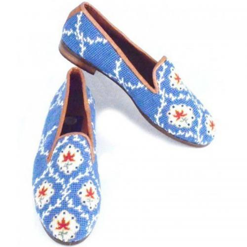 By Paige Laides Blue Pierre Deux Needlepoint Loafers  Apparel & Accessories > Shoes > Loafers