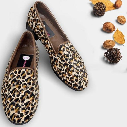 By Paige Ladies Needlepoint Leopard Mini Print Loafer  Apparel & Accessories > Shoes > Loafers