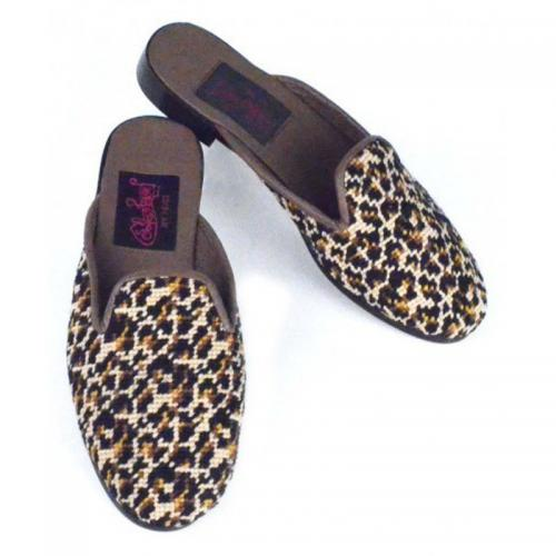 By Paige Ladies Needlepoint Mini Leopard Print Mules   Apparel & Accessories > Shoes > Clogs & Mules