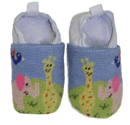 By Paige Needlepoint Zoo Baby Booties Hand  Apparel & Accessories > Shoes > Baby & Toddler Shoes