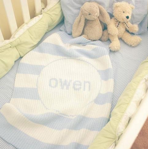 Monogrammed Knit Crib Blanket 36' by 53'   Home & Garden > Linens & Bedding > Bedding > Blankets > Throws