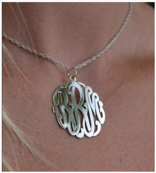 Monogrammed Pendant on Center Bale  Apparel & Accessories > Jewelry > Necklaces