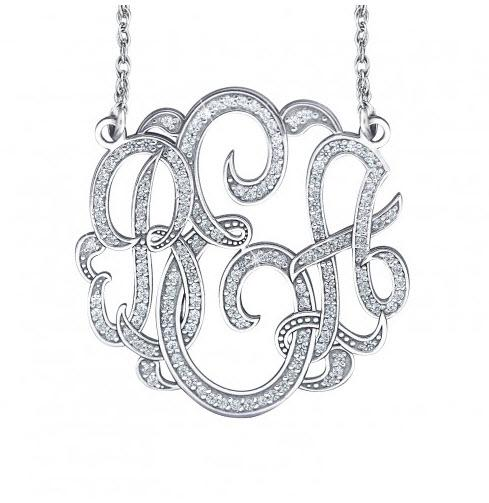 Monograms and Diamonds Solid Gold Necklace Three Sizes  Apparel & Accessories > Jewelry > Necklaces