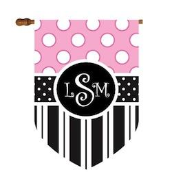 Fun Dots and Stripes Monogram Flag in Black and Pink Fun Dots and Stripes Black and Pink Home & Garden > Decor > Flags & Windsocks