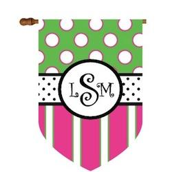 Fun Dots and Stripes Monogram Flag in Pink and Green  Fun Dots and Stripes Pink and Green  Home & Garden > Decor > Flags & Windsocks