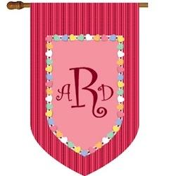 Monogrammed House Flag with Valentine Hearts Valentine 3 Letter Monogram with Hearts Home & Garden > Decor > Flags & Windsocks
