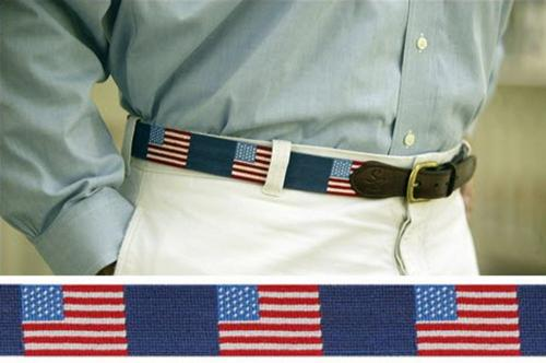 Smathers and Branson Needlepoint American Flag Belt -   Apparel & Accessories > Clothing Accessories > Belts