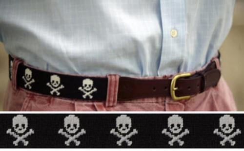 Smathers and Branson Needlepoint Jolly Roger Black Belt - Monogram Option  Apparel & Accessories > Clothing Accessories > Belts