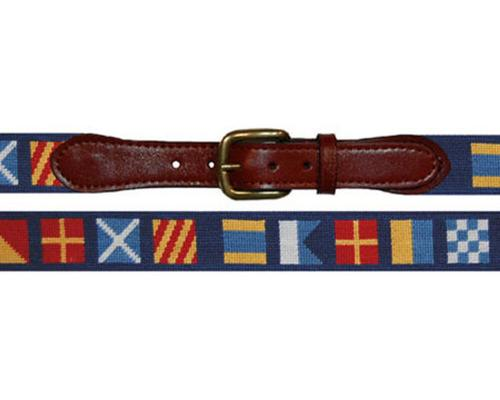 Smathers and Branson Nautical Flag Dark N Stormy Needlepoint Belt   Apparel & Accessories > Clothing Accessories > Belts