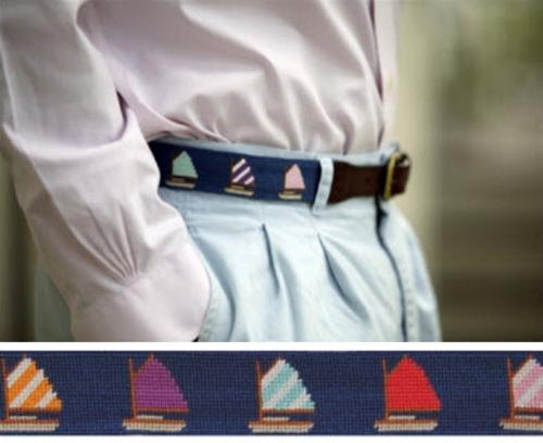 Smathers and Branson Rainbow Fleet Needlepoint Belt  Apparel & Accessories > Clothing Accessories > Belts