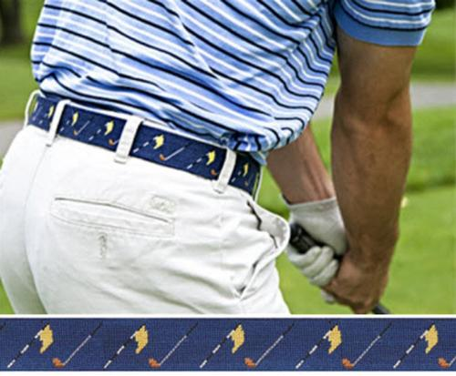 Smathers and Branson Golf Flags Needlepoint Belt - Monogram Option  Apparel & Accessories > Clothing Accessories > Belts