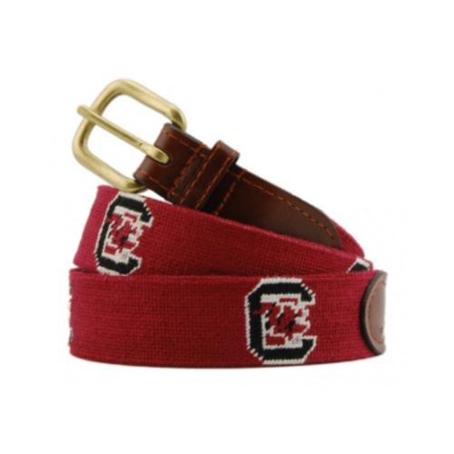 Smathers and Branson South Carolina Garnet Needlepoint Belt   Apparel & Accessories > Clothing Accessories > Belts