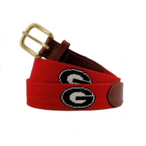 Smathers and Branson University Of Georgia Red Needlepoint Belt  Apparel & Accessories > Clothing Accessories > Belts