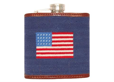 Smathers and Branson Needlepoint American Flag Flask - Monogram Option  Home & Garden > Kitchen & Dining > Food & Beverage Carriers > Flasks