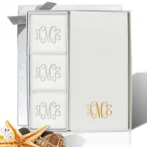 Monogrammed Soap and Paper Hand Towel Set  Health & Beauty > Personal Care > Cosmetics > Bath & Body > Bar Soap