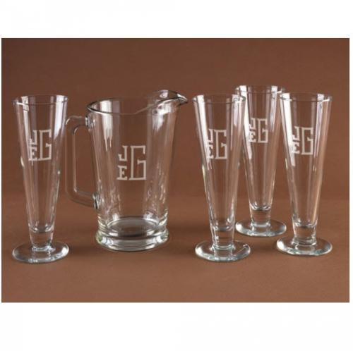 Personalized set of Five Classic Pilsner Set  Home & Garden > Kitchen & Dining > Barware