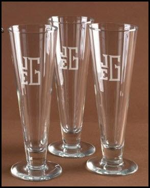 Personalized set of Four Pilsner Glasses  Home & Garden > Kitchen & Dining > Tableware > Drinkware > Tankards & Beer Steins