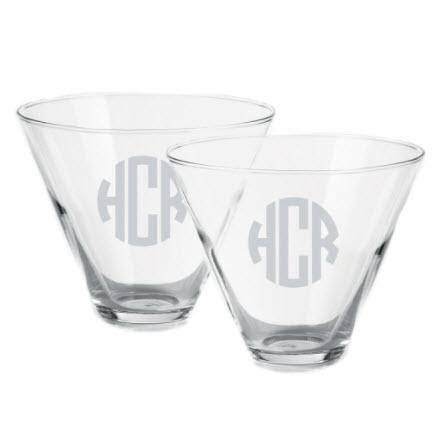 Personalized set of Two Stemless Martini Glasses  Home & Garden > Kitchen & Dining > Tableware > Drinkware > Stemware