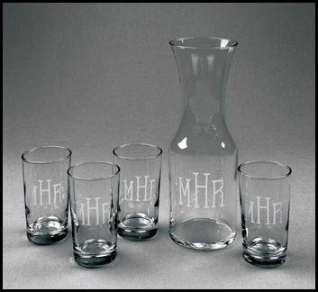 Personalized set of Five Carafe Juice Set  Home & Garden > Kitchen & Dining > Tableware > Serveware > Serving Pitchers & Carafes