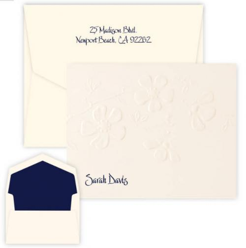 Embossed Graphics Personalized Blossom Raised Ink Foldover Note  Office Supplies > General Supplies > Paper Products > Stationery