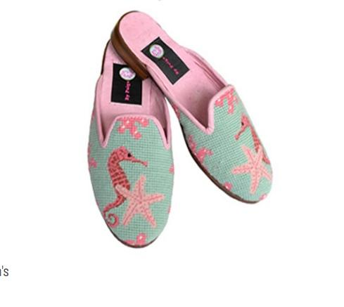 By Paige Ladies Seahorse Needlepoint Mules   Apparel & Accessories > Shoes > Clogs & Mules