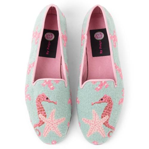 By Paige Needlepoint Seahorse and Starfish Loafers  Apparel & Accessories > Shoes > Loafers