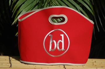 Queen Bea Monogrammed GiGi Bag In Red Canvas  Apparel & Accessories > Handbags > Tote Handbags