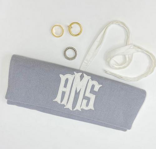 Monogrammed Talley Ho Designs Roll Up Jewelry Case  Luggage & Bags > Toiletry Bags