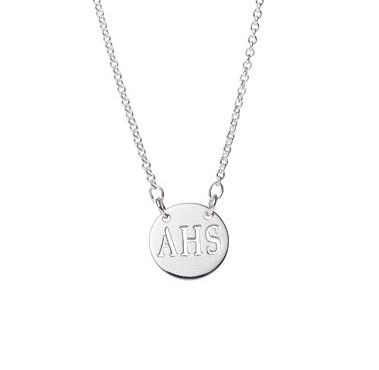 "Personalized Silver 1/2"" Round Pendant with Cut Out Letters Personalized Silver 1/2"" Round Pendant with Cut Out Letters Apparel & Accessories > Jewelry > Necklaces"
