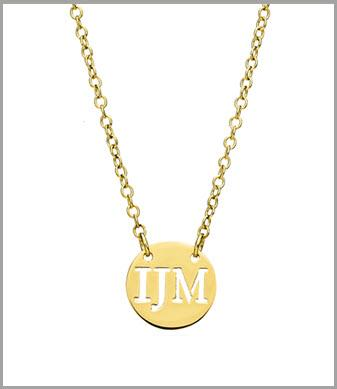 14 kt. Gold Initial Necklace  14 kt. Three Initial Disk on Chain Apparel & Accessories > Jewelry > Necklaces